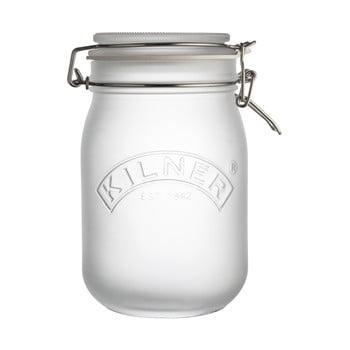 Borcan cu clips Kilner, 1 L, alb imagine