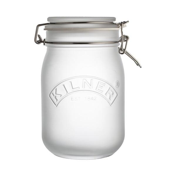 Mléčně bílá sklenice s klipem Kilner, 1 l