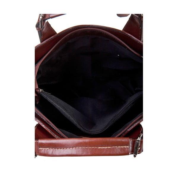 Hnědá kožená kabelka Massimo Castelli Valeria