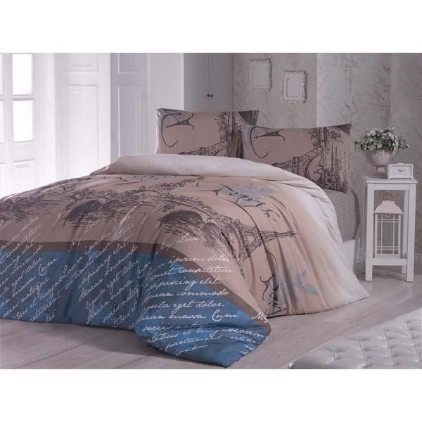 Paris Polly kék ágyneműhuzat lepedővel egyszemélyes ágyhoz, 160 x 220 cm
