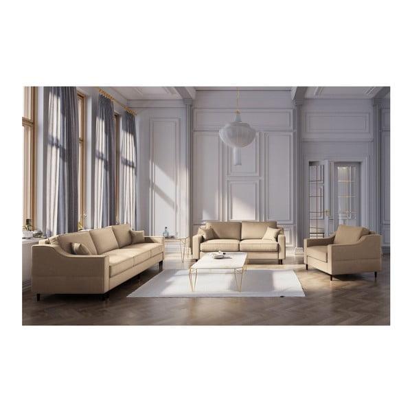 Béžová třímístná rozkládací pohovka s úložným prostorem Mazzini Sofas Narcisse