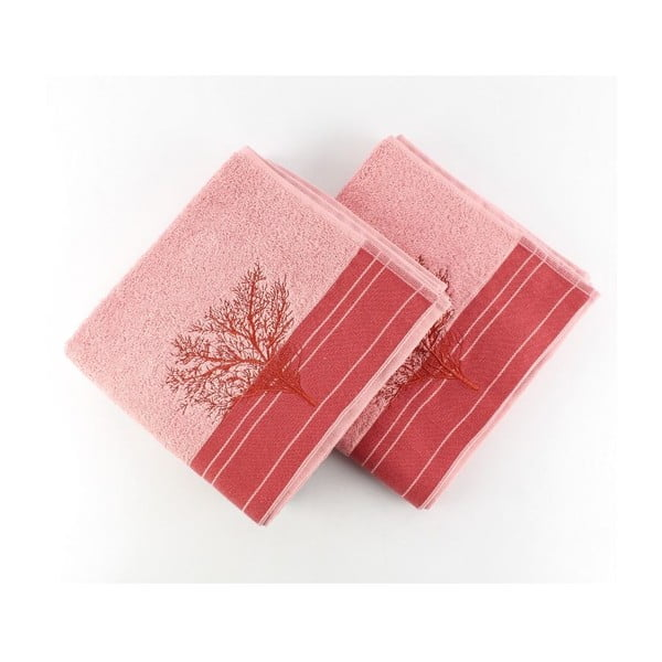 Sada 2 růžových ručníků Infinity, 50 x 90 cm
