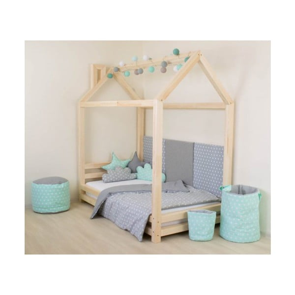 Dětská černá postel z smrkového dřeva Benlemi Happy,120x200cm