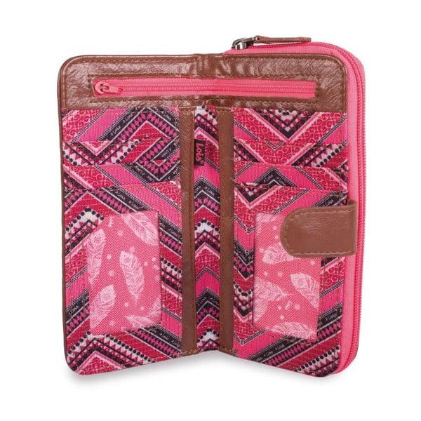 Růžovo-bílá peněženka Lois, 18 x 9 cm