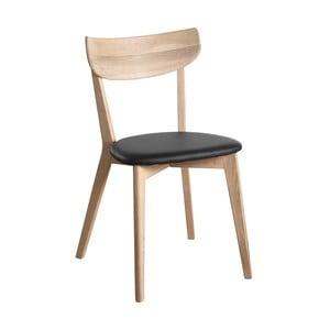 Matně lakovaná dubová židle s černým sedákem  Folke Aegi