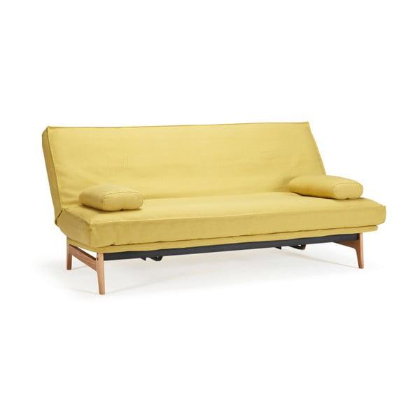 Žlutá rozkládací pohovka se snímatelným potahem Innovation Aslak Elegant Soft Mustard Flower, 81x200cm