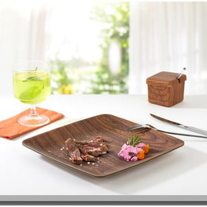 Hnědý hranatý talíř Evelin, 15 x 15 cm