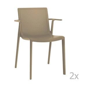 Sada 2 béžových zahradních židlí s područkami Resol Beekat