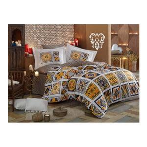 Lenjerie de pat din bumbac poplin cu cearșaf Mozaique, 160 x 220 cm