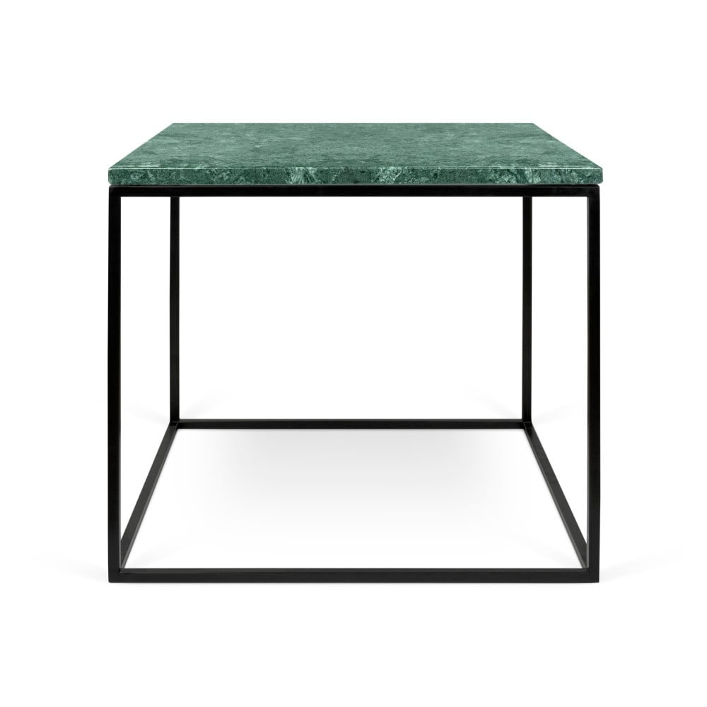 Fotografie Zelený mramorový konferenční stolek s černými nohami TemaHome Gleam, 50 x 50 cm