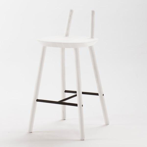 Bílá  barová židle z masivu EMKO Naïve