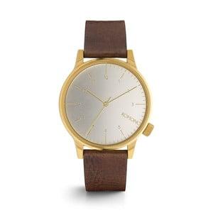 Pánské hnědé hodinky s koženým řemínkem a bílým ciferníkem Komono Regal