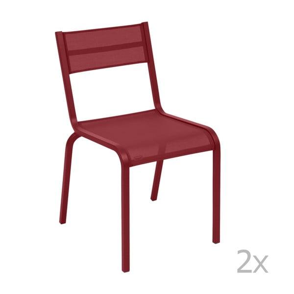 Komplet 2 czerwonych metalowych krzeseł ogrodowych Fermob Oléron