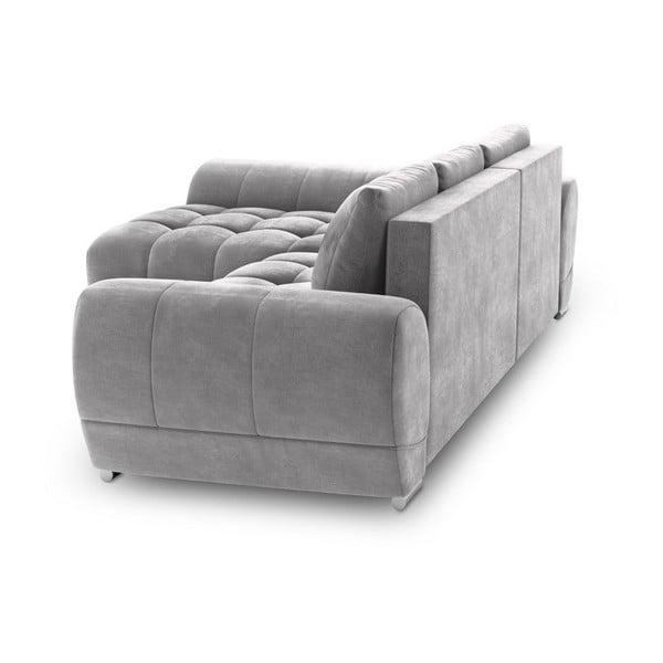Canapea extensibilă cu înveliș de catifea Windsor & Co Sofas Nuage, pe partea stângă, gri deschis