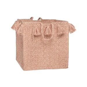Růžový bavlněný ručně tkaný box Nattiot, Ø 25 cm