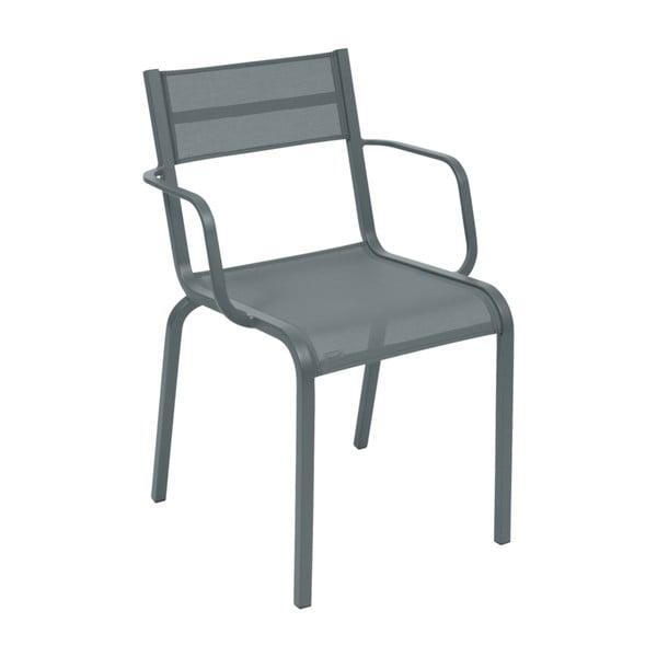 Sada 2 tmavě šedých kovových zahradních židlí Fermob Oléron Arms