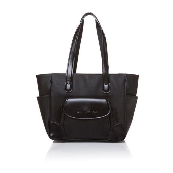 Kožená kabelka přes rameno Marta Ponti Pocket Deux, černá