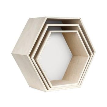 Set 3 rafturi de perete Really Nice Things Hexagon, alb - maro poza