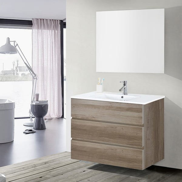 Koupelnová skříňka s umyvadlem a zrcadlem Nayade, dekor dubu, 100 cm
