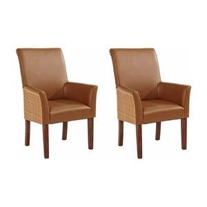 Sada 2 hnědých jídelních židlí s područkami Støraa Matrix
