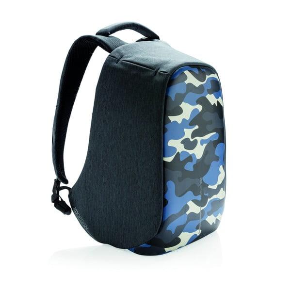 Camouflage unisex biztonsági hátizsák, kék részletekkel - XD Design