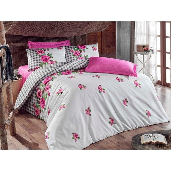 Růžové povlečení s prostěradlem Love Colors Florid, 160 x 220 cm