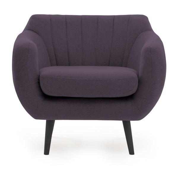 Fotoliu cu picioare negre Vivonia Kennet, violet