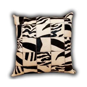 Polštář z pravé kůže Zebra, 45x45 cm