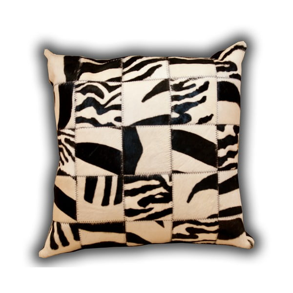 Polštář z pravé kůže Pipsa Zebra, 50x50cm