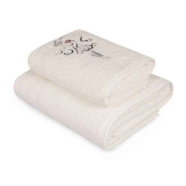 Komplet białego ręcznika i białego ręcznika kąpielowego z kolorowym detalem Belle