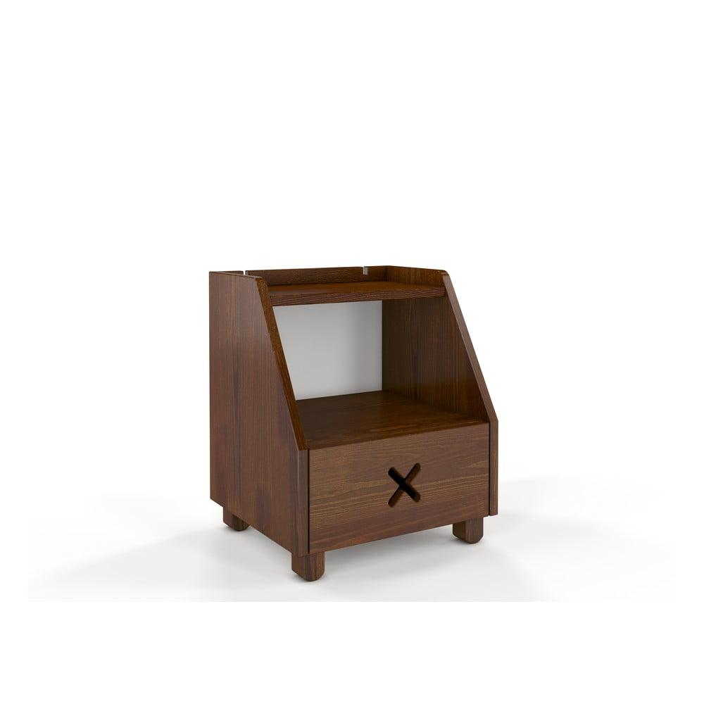 Noční stolek z borovicového dřeva se zásuvkou a policí v ořechovém dekoru Skandica Visby Ustka