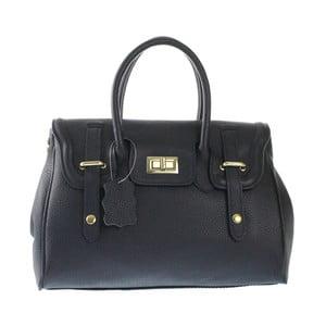 Černá kožená kabelka Chicca Borse Ladonna