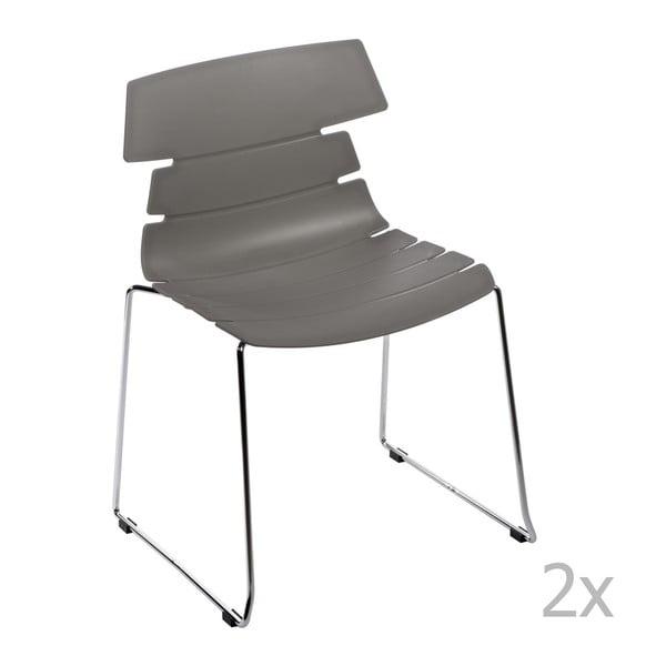 Sada 2 šedých židlí D2 Techno