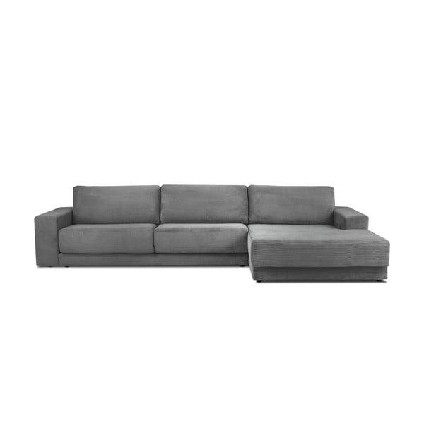 Sivá menčestrová XXL päťmiestna rozkladacia pohovka Milo Casa Donatella, pravý roh
