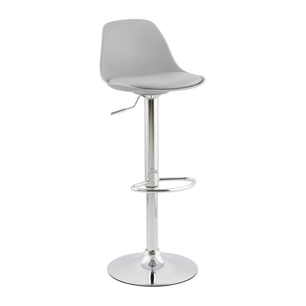 Sivá barová stolička so sdadlom z pravej kože Kokoon