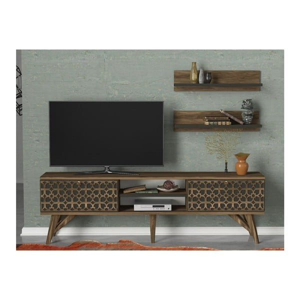 Szafka pod TV w dekorze drewna orzecha Fina