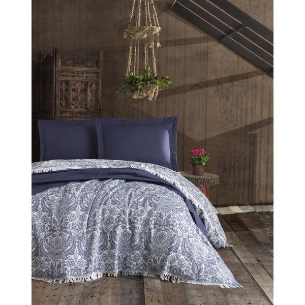 Nish Dark Blue sötétkék kétszemélyes pamut ágytakaró, 240 x 260 cm - EnLora Home