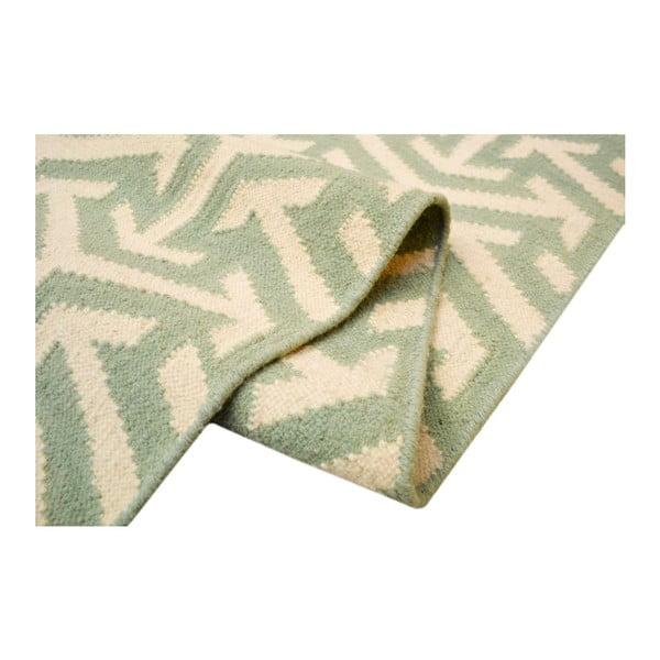 Vlněný koberec Kilim no. 307, 60x180 cm, zelený