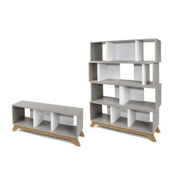 Set Archi Textile stolek na televizi a knihovna 4 moduly