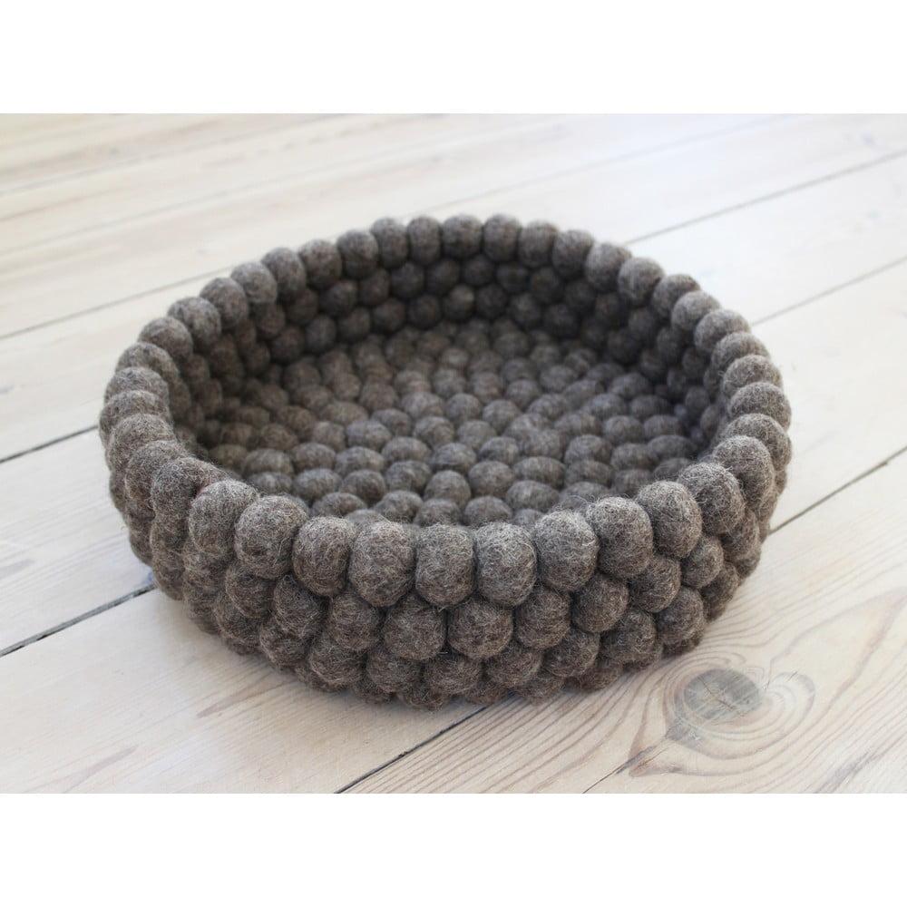 Ořechově hnědý kuličkový vlněný úložný košík Wooldot Ball Basket, ⌀ 28 cm