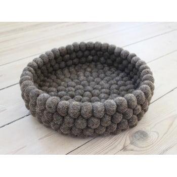 Coș depozitare cu bile din lână Wooldot Ball Basket, ⌀ 28 cm, maro nucă
