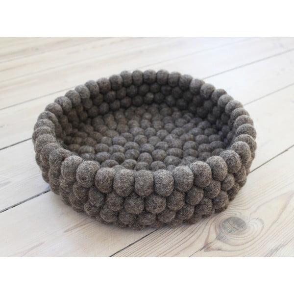 Orzechowobrązowy wełniany koszyk kulkowy Wooldot Ball Basket, ⌀ 28 cm