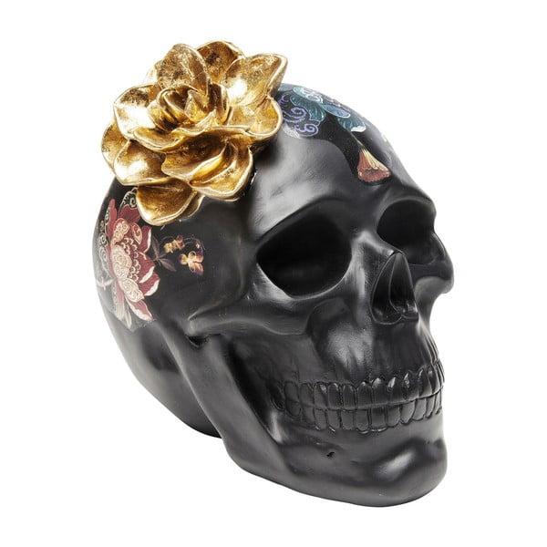 Černá dekorativní soška Kare Design Flower Skull, výška 22cm