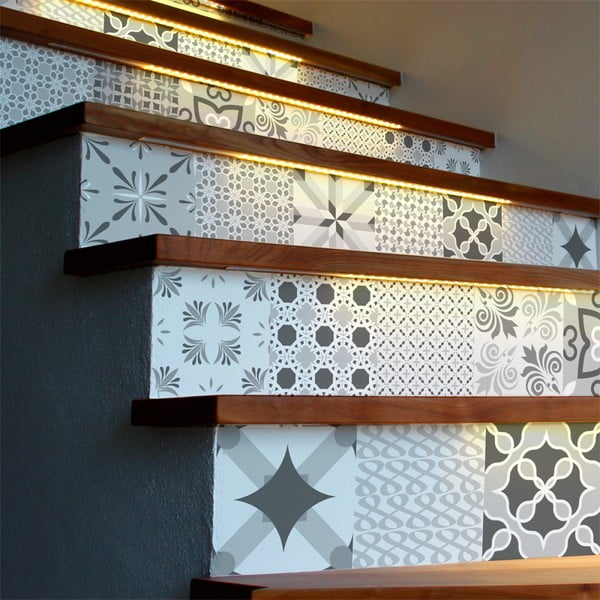 Sada 2 samolepek na schody Ambiance Romantic, 15 x 105 cm