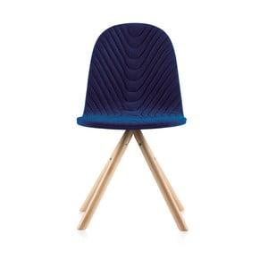 Tmavě modrá židle s přírodními nohami IkerMannequinWave