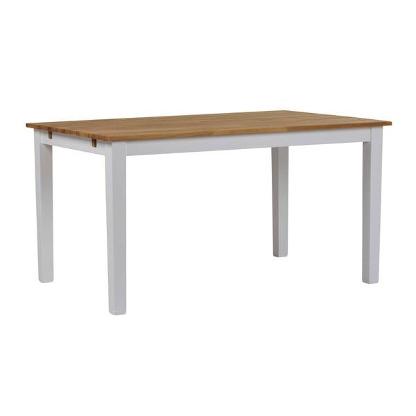 Bílý jídelní stůl z masivního dubového dřeva Folke Finnus, 140x90cm