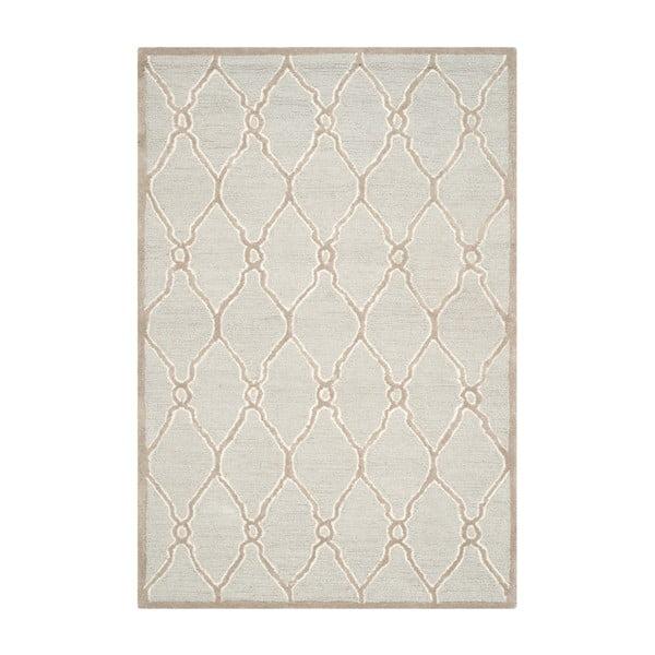 Světle šedý vlněný koberec Safavieh Augusta, 243 x 152 cm