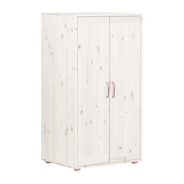 Biela detská šatníková skriňa z borovicového dreva Flexa Classic, výška 133 cm