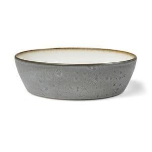 Šedá kameninová servírovací mísa s vnitřní glazurou v krémově bílé barvě Bitz Mensa, průměr 18 cm