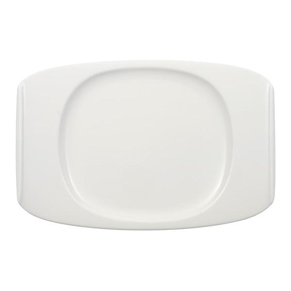 Biely hranatý tanier z porcelánu Villeroy & Boch Urban Nature, 32 x 21,5 cm